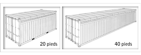 Tailles conteneurs france for Maison conteneur 40 pieds